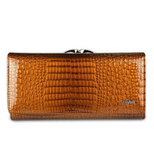 Load image into Gallery viewer, Women's Luxury Patent Leather Clutch Purse Orange Premium Leather