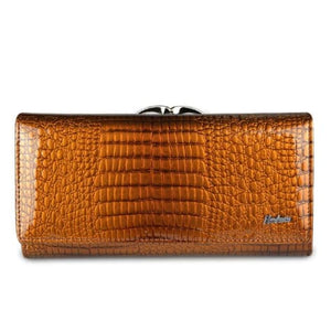Women's Luxury Patent Leather Clutch Purse Orange Premium Leather