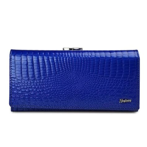 Women's Luxury Patent Leather Clutch Purse Blue Premium Leather
