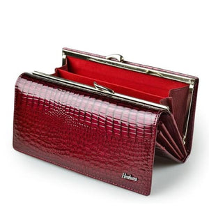 Women's Luxury Patent Leather Clutch Purse Wine Red Premium Leather