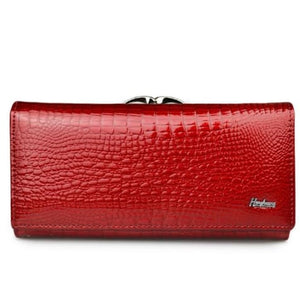 Women's Luxury Patent Leather Clutch Purse Red Premium Leather