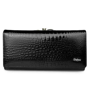 Women's Luxury Patent Leather Clutch Purse Black Premium Leather