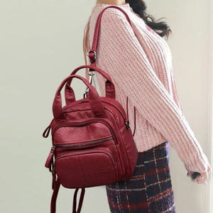 Women's Sheepskin Leather Zipper Backpack and Cross Body Bag Winered Premium Leather