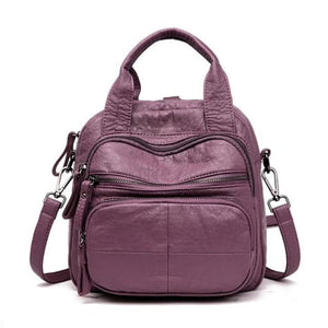 Women's Sheepskin Leather Zipper Backpack and Cross Body Bag Purple Premium Leather