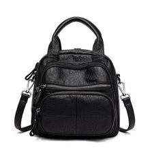 Load image into Gallery viewer, Women's Sheepskin Leather Zipper Backpack and Cross Body Bag Black Premium Leather