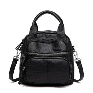 Women's Sheepskin Leather Zipper Backpack and Cross Body Bag Black Premium Leather
