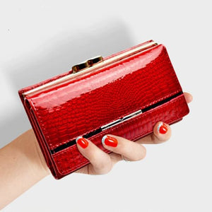 Women's True Leather Wallet and Clutch Purse Red Premium Leather