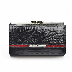 Women's True Leather Wallet and Clutch Purse Black Premium Leather