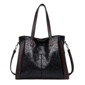 Wood Etched Women's Luxury Handbag Black Premium Leather