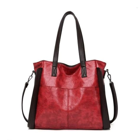 Wood Etched Women's Luxury Handbag Red Premium Leather