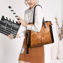Load image into Gallery viewer, Wood Etched Women's Luxury Handbag Brown Premium Leather