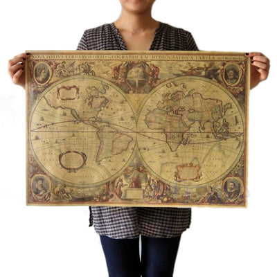 Mappemonde mondial antique <br> Carte décorative rétro