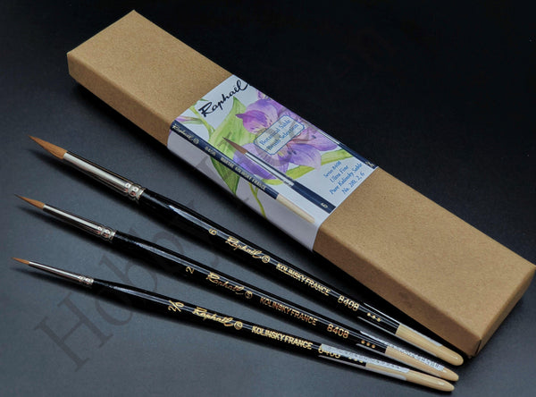 Raphael 8408 Kolinsky Sable Botanical Gift Brush Set Sizes: 2/0,2,6 - Hobby Heaven