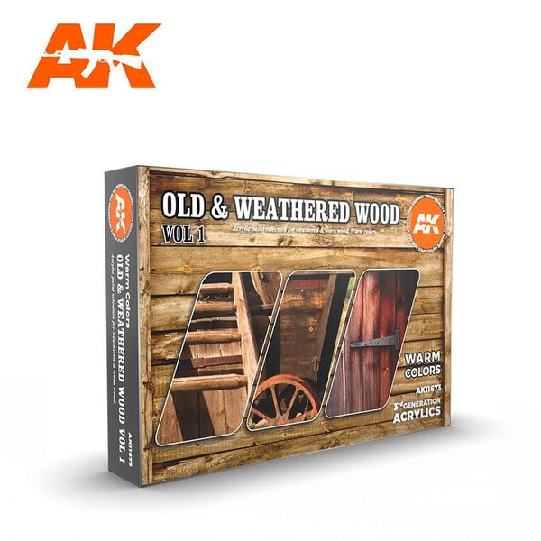 AK Interactive Old & Weathered Wood Vol.1 Paints Set 3rd Generation Acrylics - Hobby Heaven