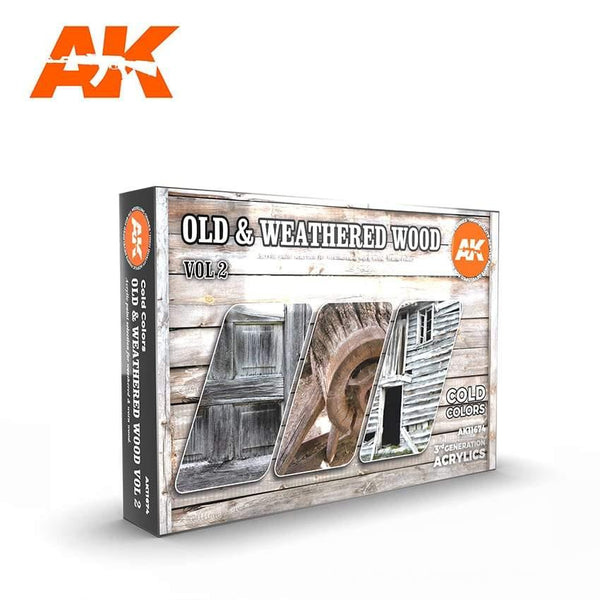 AK Interactive Old & Weathered Wood Vol.2 Paints Set 3rd Generation Acrylics - Hobby Heaven