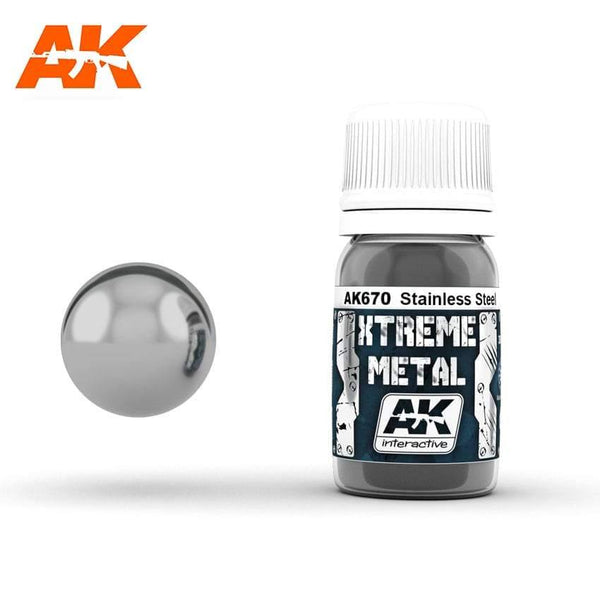 AK Interactive XTREME METAL Stainless Steel 30ml - Hobby Heaven