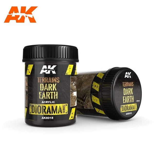 AK Interactive Terrains Dark Earth 250ml (Acrylic) Diorama Effects - Hobby Heaven