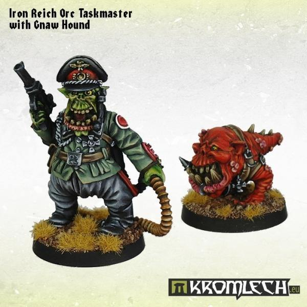 Kromlech Iron Reich Orc Taskmaster with Gnaw Hound (2) KRM083 - Hobby Heaven