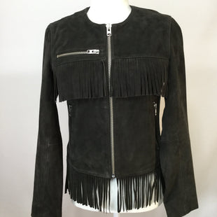 Top Shop Fringe Coat  SIZE:4 - BRAND NEW WITH TAGS!RETAIL PRICE $360CM PRICE $120SILVER ZIPPERS.