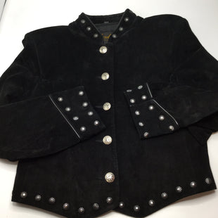 Scully Jacket Leather Size:m - SOFT BLACK LEATHER JACKET WITH GUN METAL STUD EMBELLISHMENTS AROUND THE COLLAR, WAIST AND SLEEVE CUFFS..