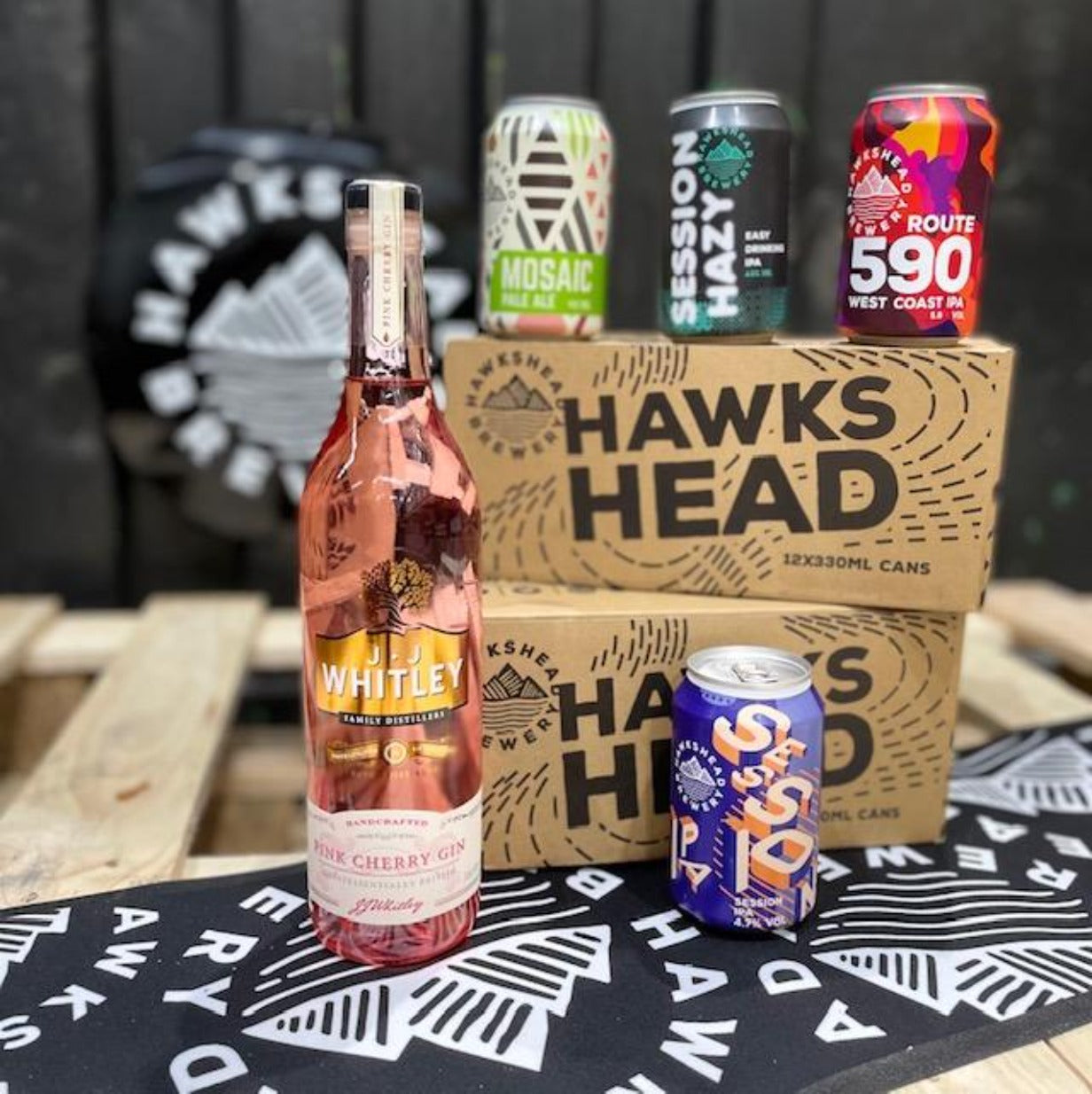 Hawkshead Brewery - 2 x Mixed Case 330ml Cans and a JJ Whitley  Pink Cherry Gin 70cl