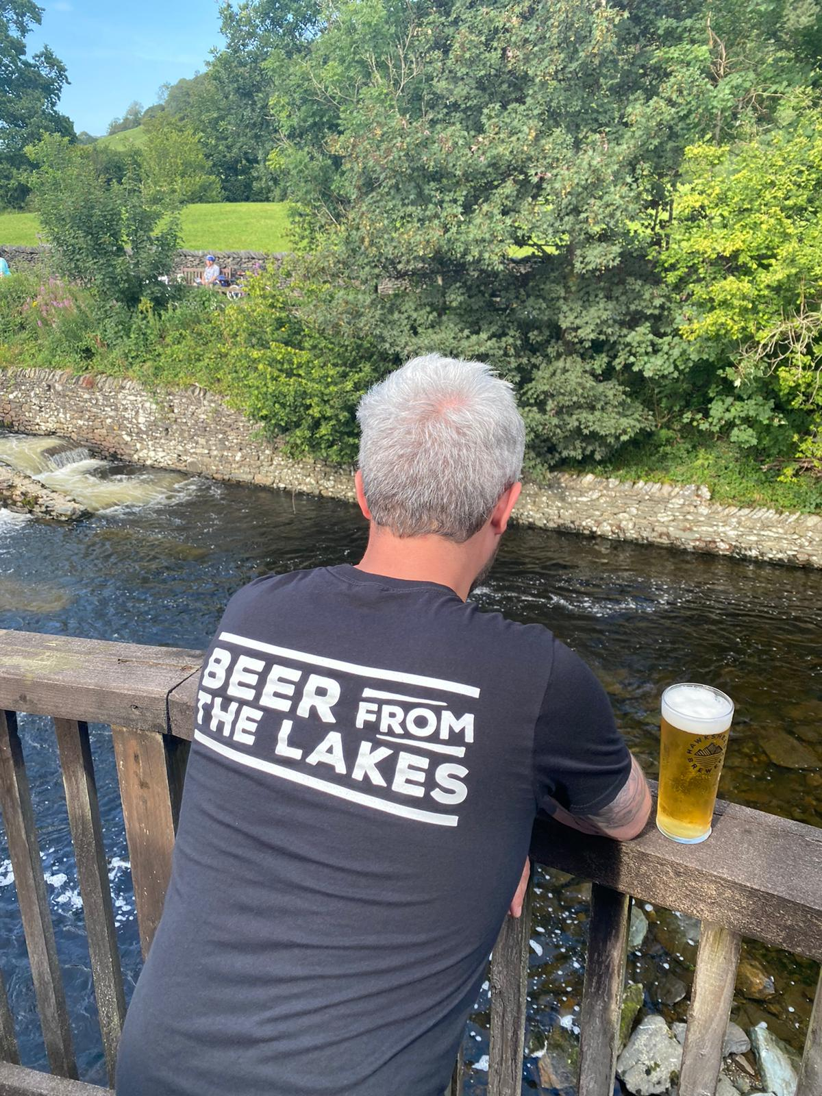 Hawkshead Brewery Black T-Shirt with White Logo 'Beer From The Lakes'