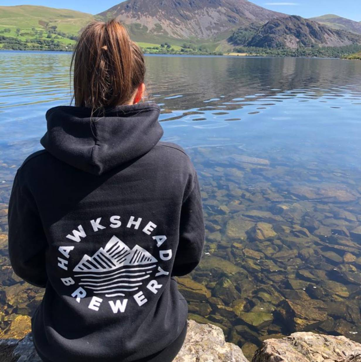 Hawkshead Brewery Black Hoodie with white logo