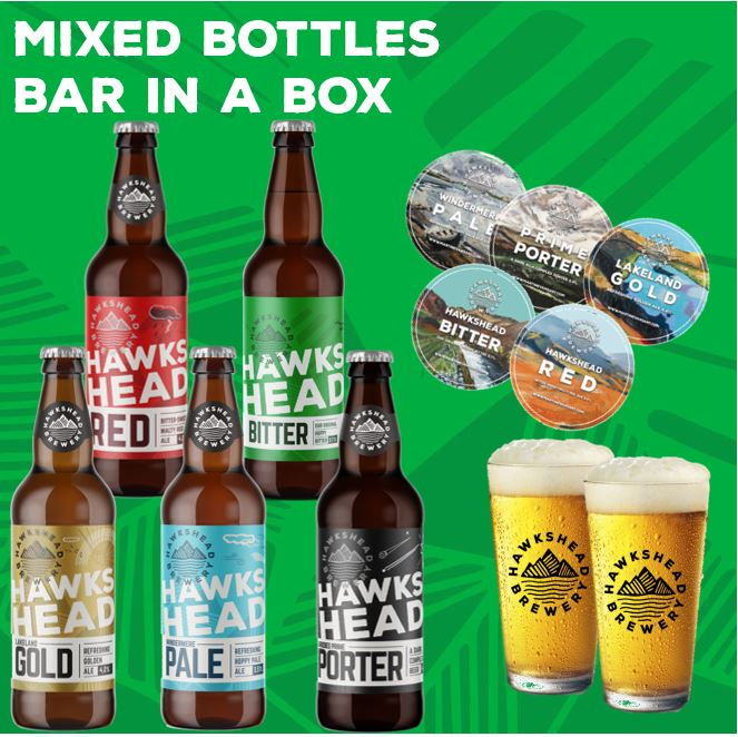 Mixed Bottles Bar In A Box -10x500ml Bottled Beer + 2xPint Glasses + Beer Mats