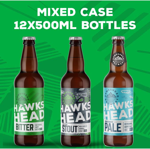 MIXED CASE 12X500ML BOTTLES - Hawkshead Bitter, Dry Stone Stout & Windermere Pale