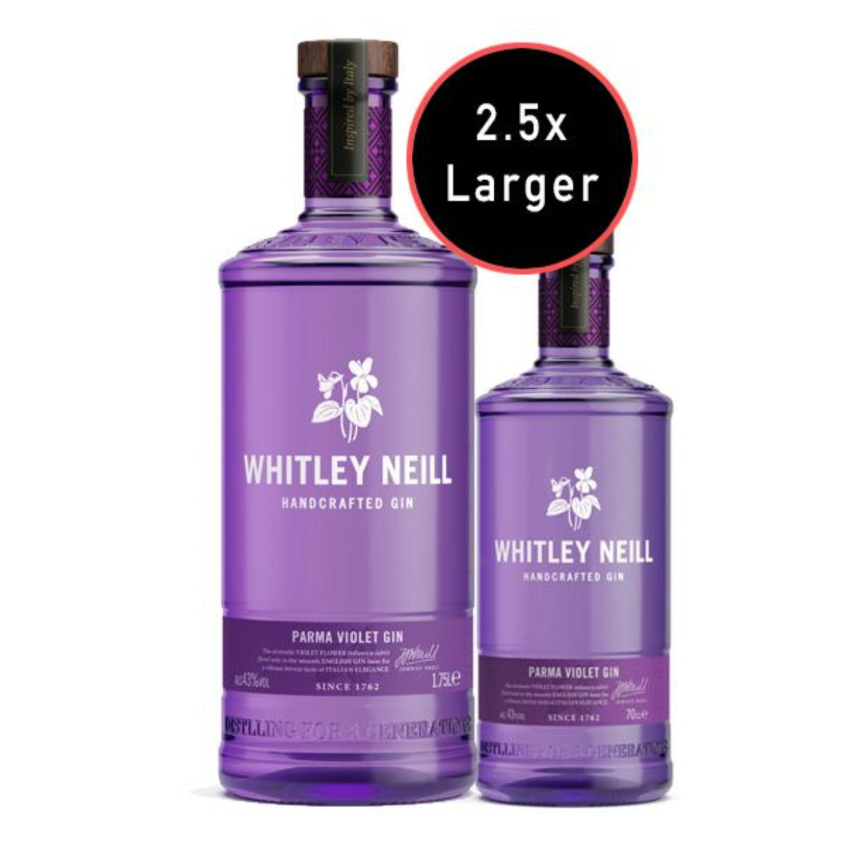 Whitley Neill Pink Parma Violet Gin Extra Large 1.75 Litre - thedropstore.com