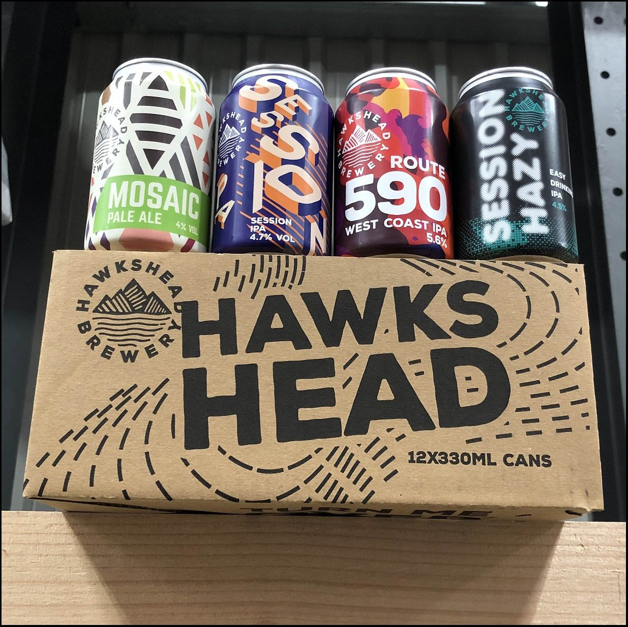 Hawskhead Brewery Mixed Case of 12 x 330ml Cans. Mosaic Pale Ale, Sessions IPA, 590 West Coast IPA and Session Hazy IPA