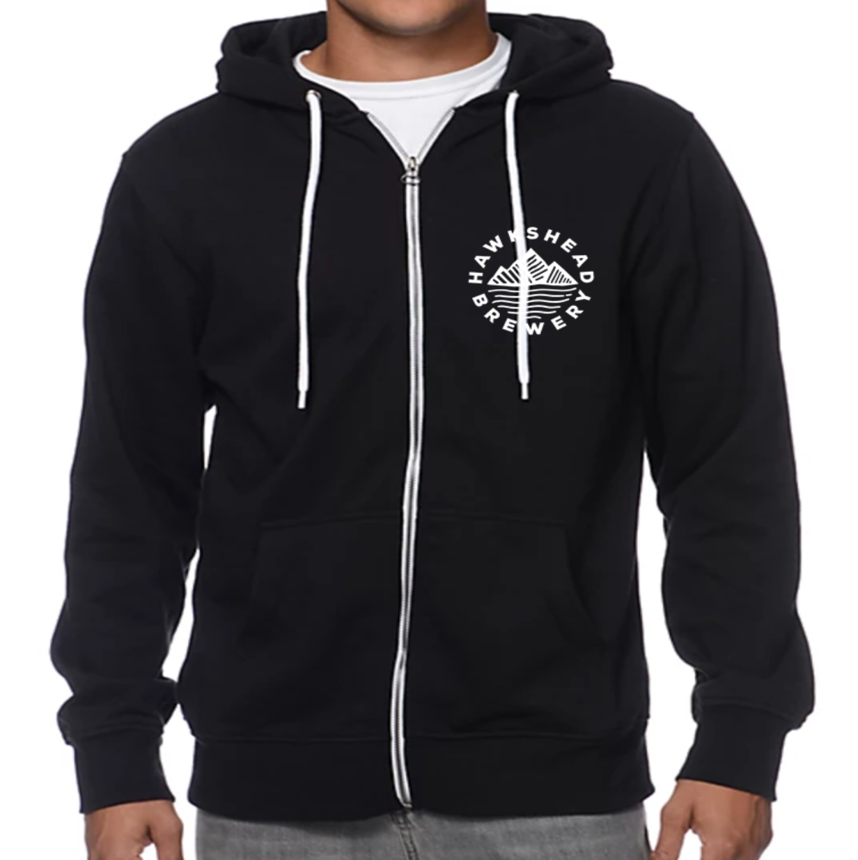 Hawkshead Brewery - Zip up Black Hoodie - White Logo