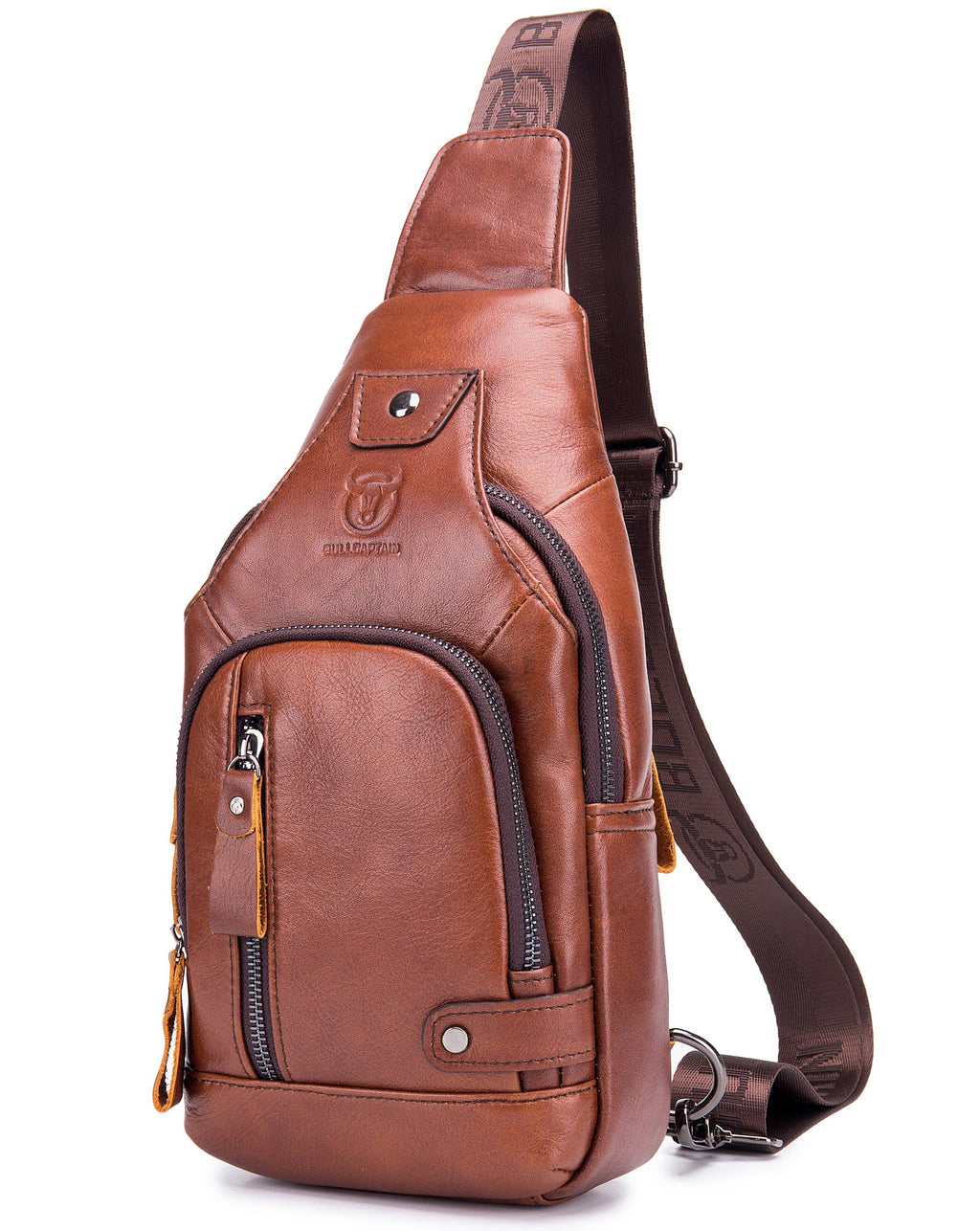 Bullcaptain Leather Sling Bag Men Crossbody Small Sachel Bags Genuine Leather Chest Bag With Charing Port - 129
