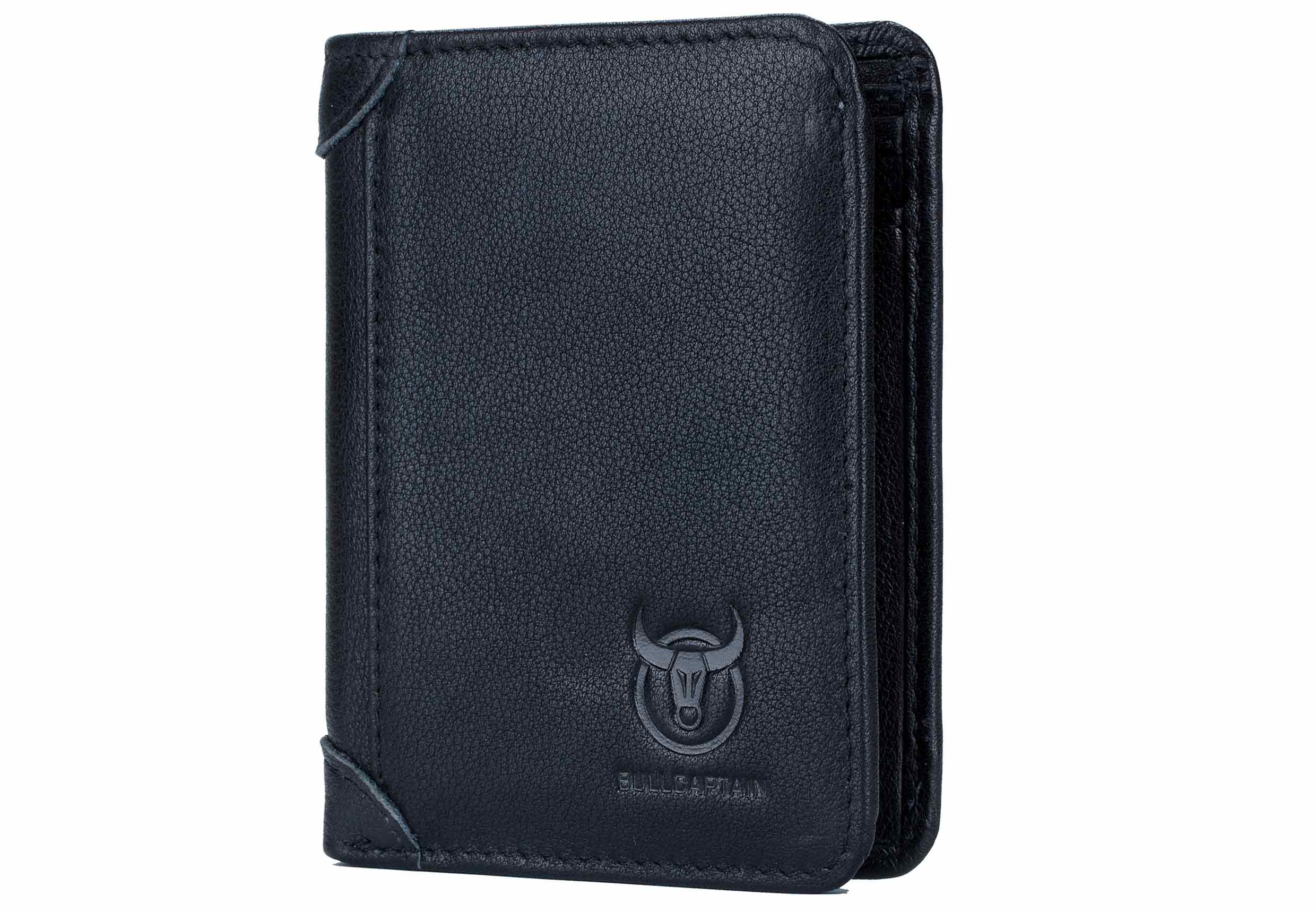 BULLCAPTAIN LEATHER BIFLOD RFID BLOCKING MEN TRIBOLD WALLET - 031