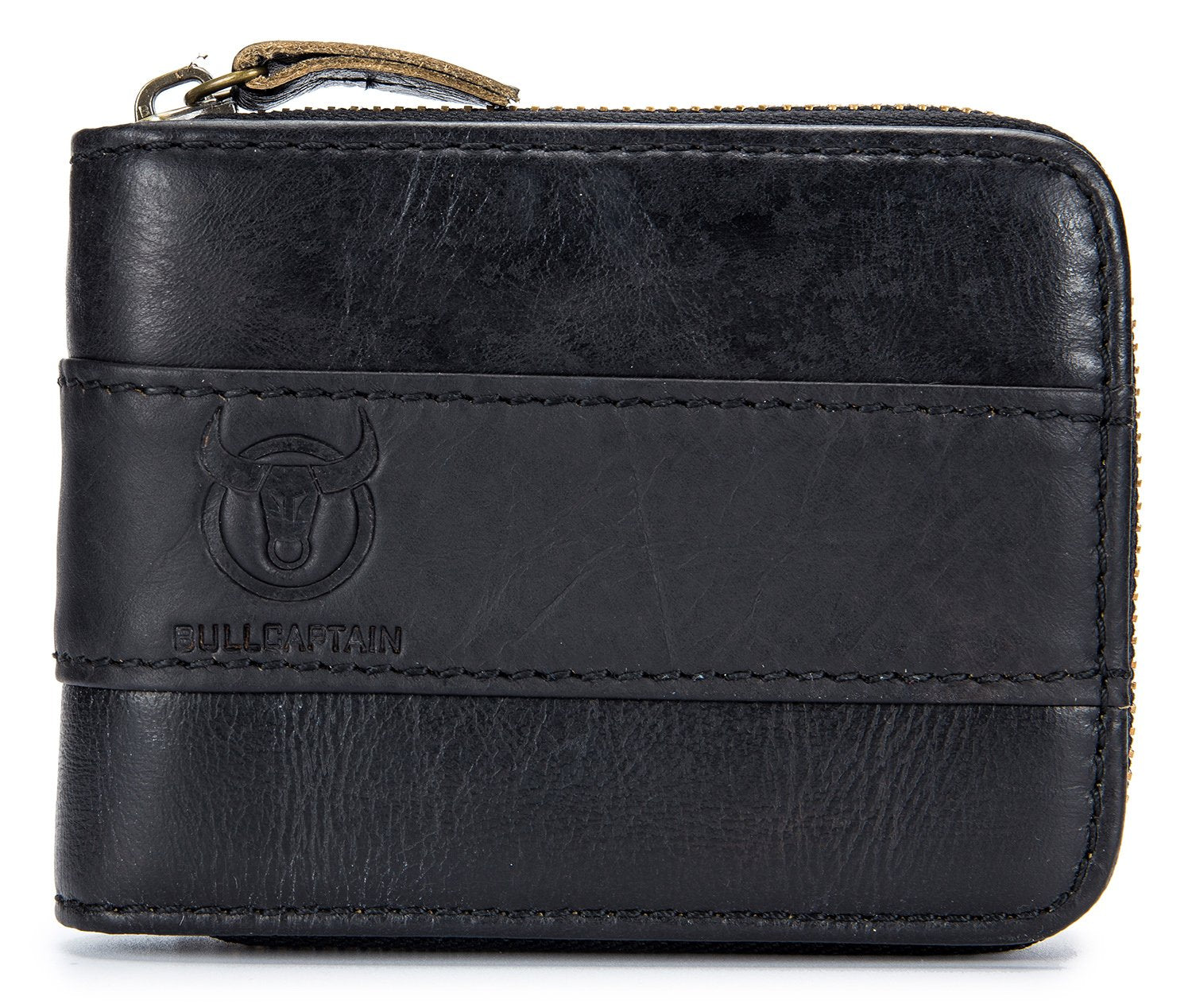 BULLCAPTAIN LEATHER ZIPPER AROUND BIFLOD RFID BLOCKING MEN WALLET - 025