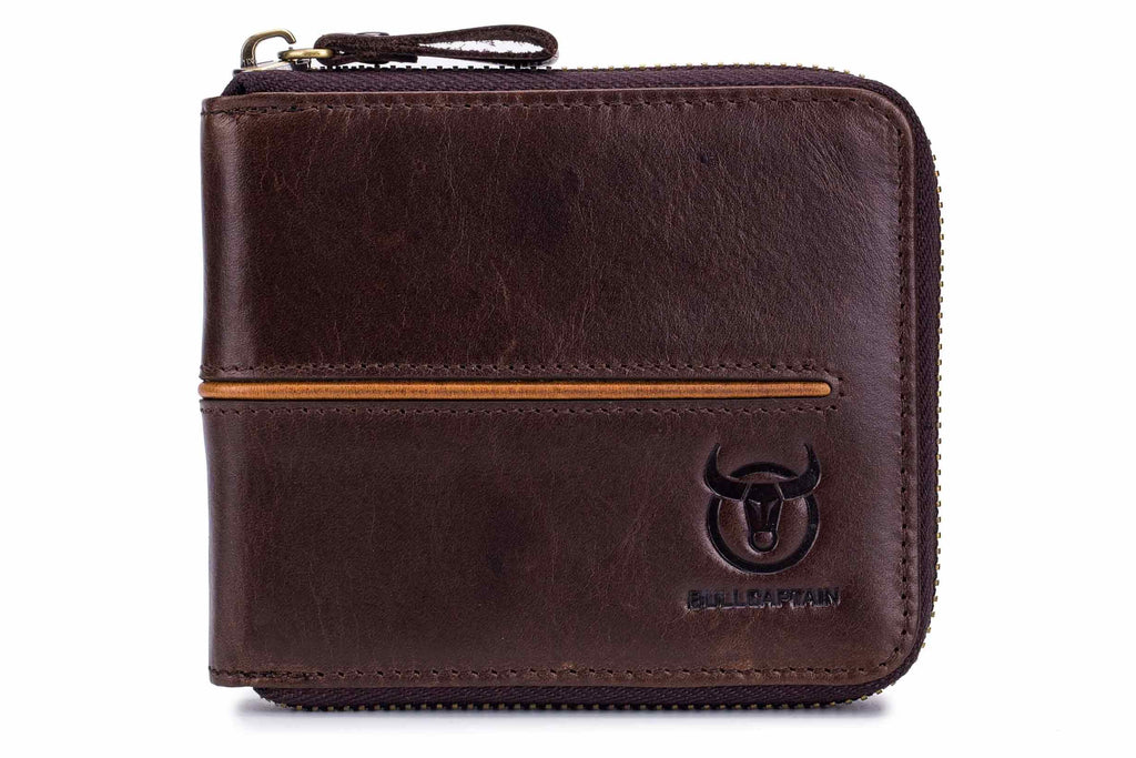 BULLCAPTAIN LEATHER ZIPPER AROUND BIFLOD RFID BLOCKING MEN WALLET - 042