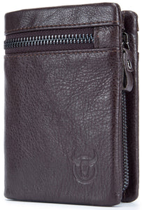 BULLCAPTAIN LEATHER BIFLOD RFID BLOCKING MEN ZIPPER WALLET WITH DETACHABLE COIN POCKET - 03