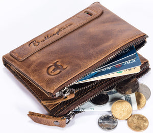 BULLCAPTAIN LEATHER BIFLOD RFID BLOCKING MEN WALLET WITH ZIPPER COIN POCKET - 06