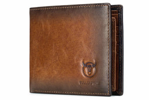 BULLCAPTAIN LEATHER BIFLOD RFID BLOCKING MEN VINTAGE WALLET - 05