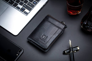 BULLCAPTAIN LEATHER BIFLOD RFID BLOCKING MEN ZIPPER WALLET WITH DETACHABLE COIN POCKET - 051
