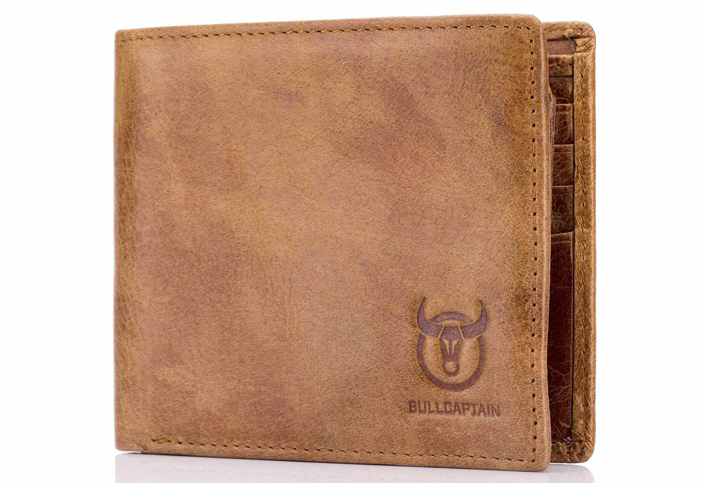 BULLCAPTAIN LEATHER BIFLOD RFID BLOCKING MEN VINTAGE WALLET - 022