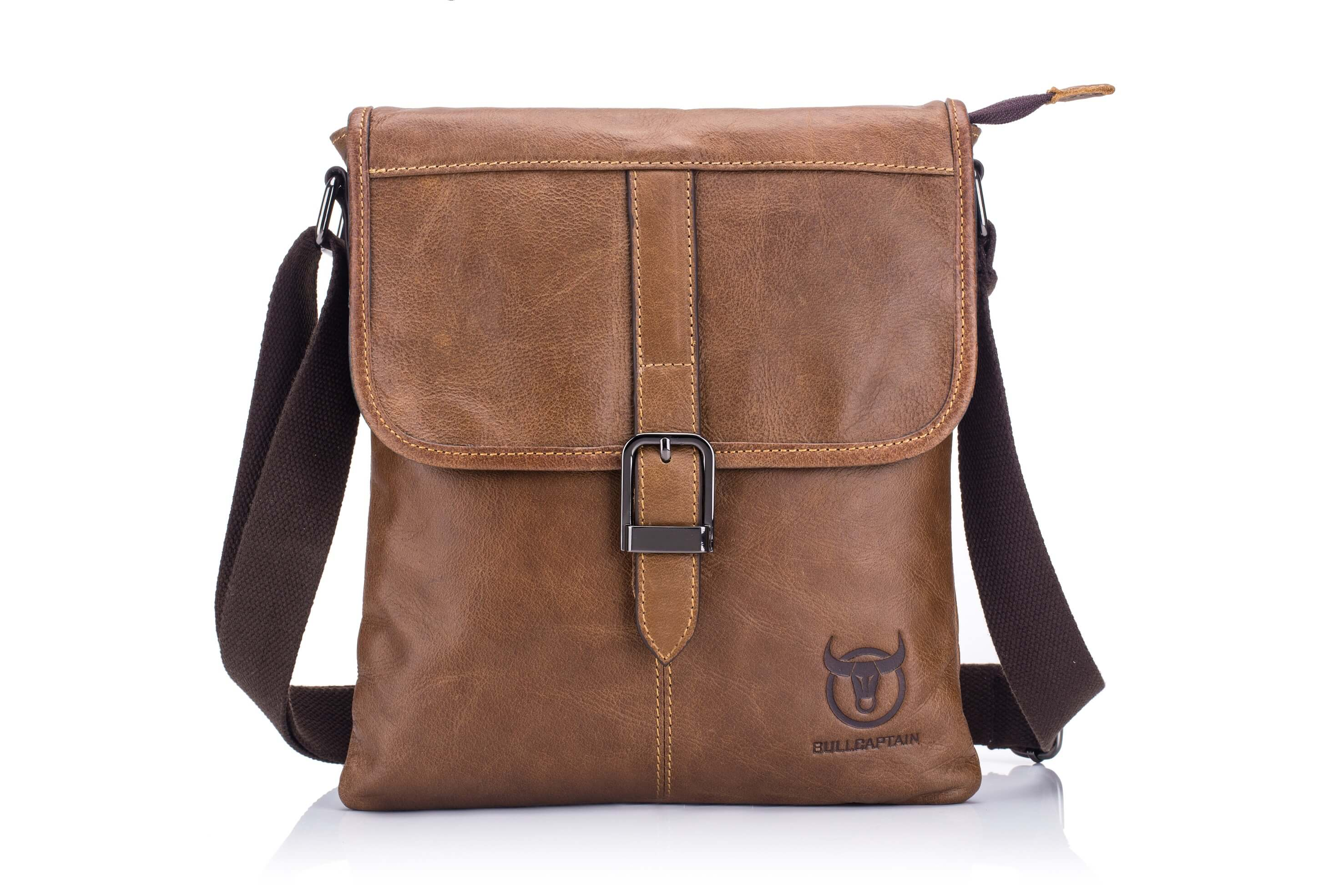 BULLCAPTAIN LEATHER MESSAGER BAG VINTAGE SHOULDER BAG - 034