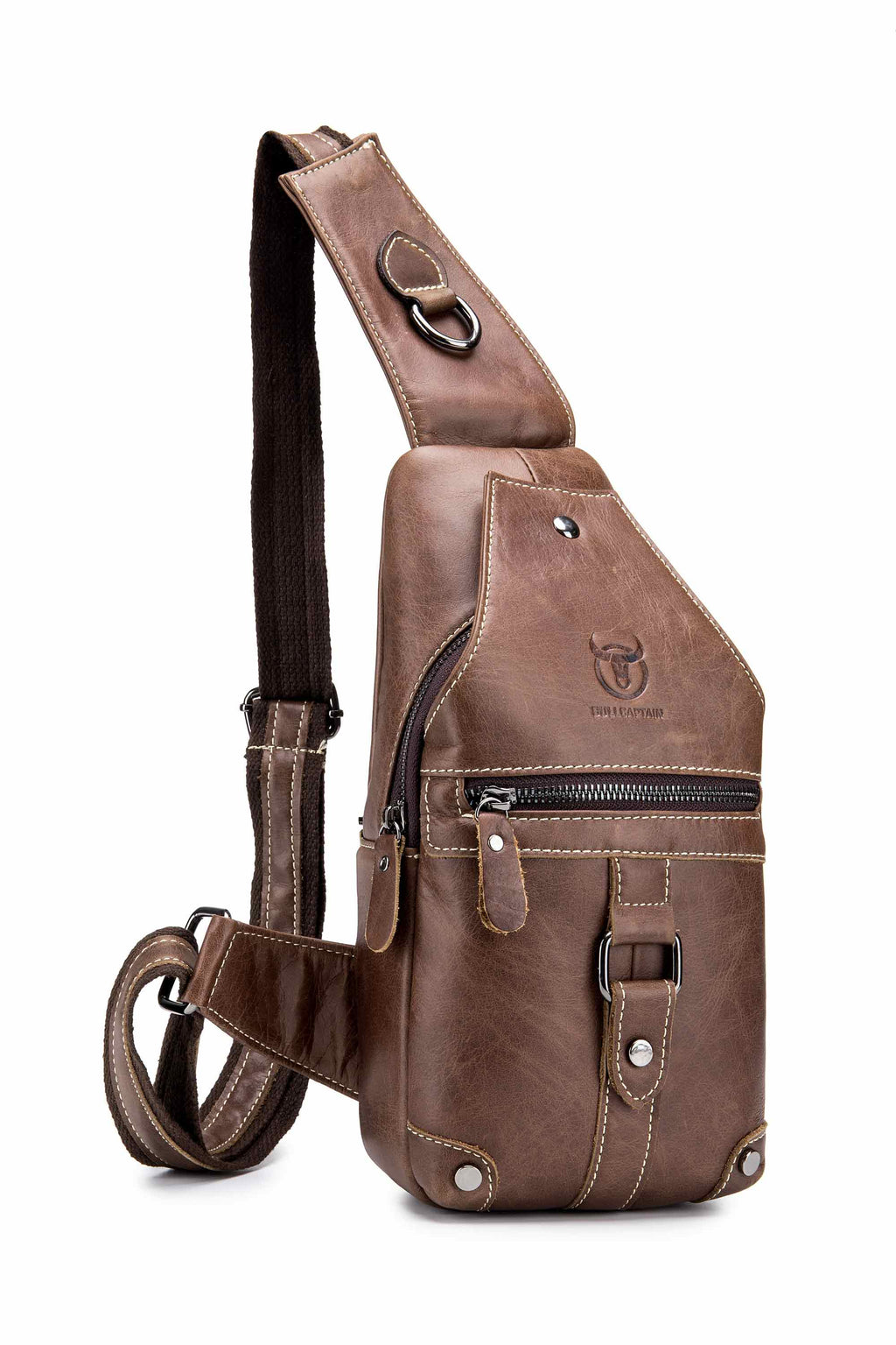 Bullcaptain Leather Sling Bag Genuine Leather Travel Chest Bag For Pad Size - 130