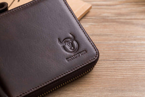 BULLCAPTAIN LEATHER ZIPPER AROUND BIFLOD RFID BLOCKING MEN WALLET - 045