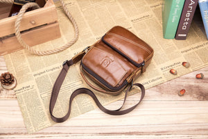 BULLCAPTAIN LEATHER MESSAGER BAG VINTAGE SHOULDER BAG WITH EARPHONE WIRE HOLE - 040
