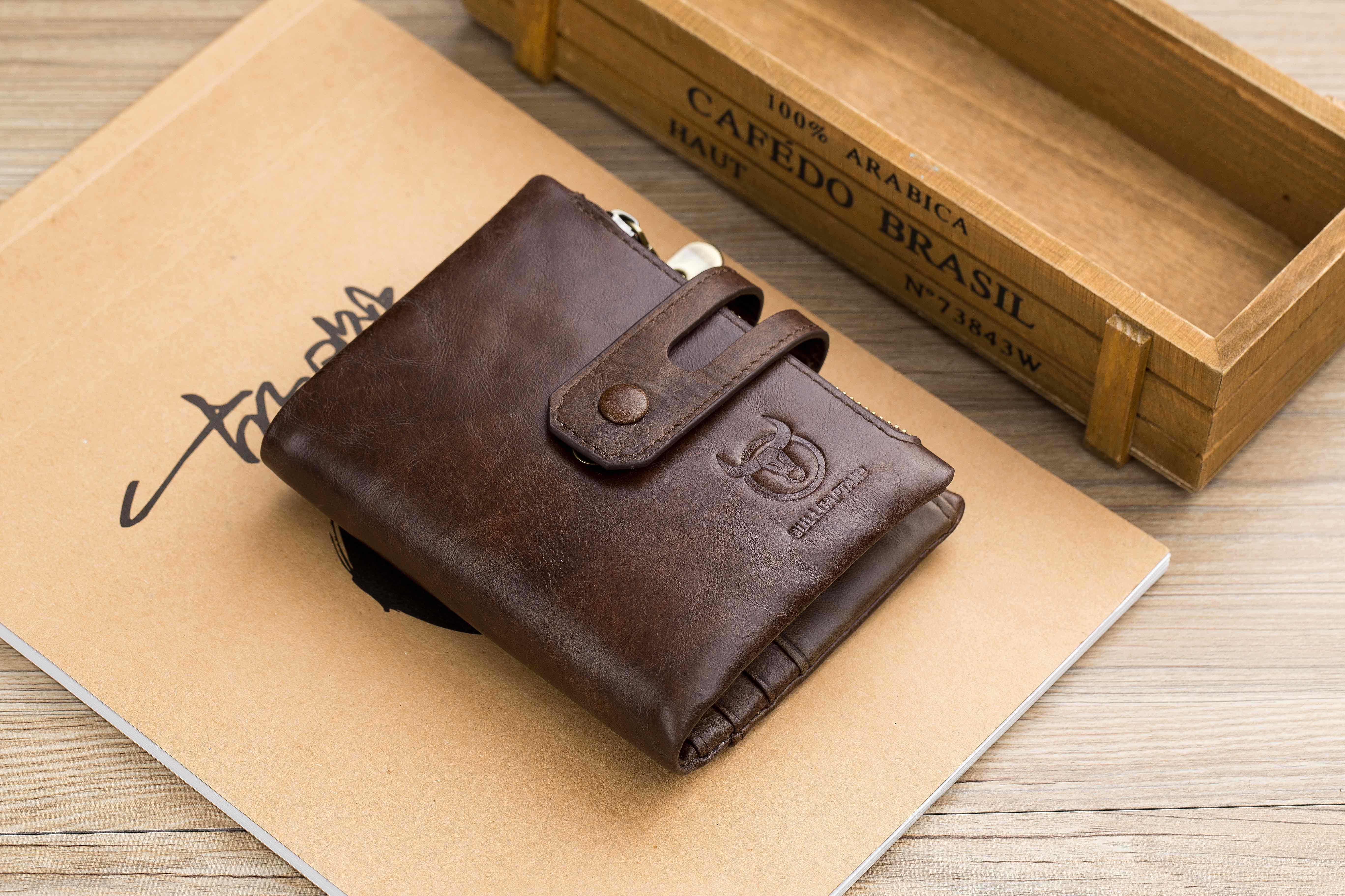 BULLCAPTAIN LEATHER BIFLOD RFID BLOCKING MEN WALLET WITH ZIPPER COIN POCKET - 021