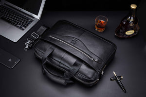 BULLCAPTAIN LEATHER BRIEFCASE - 044