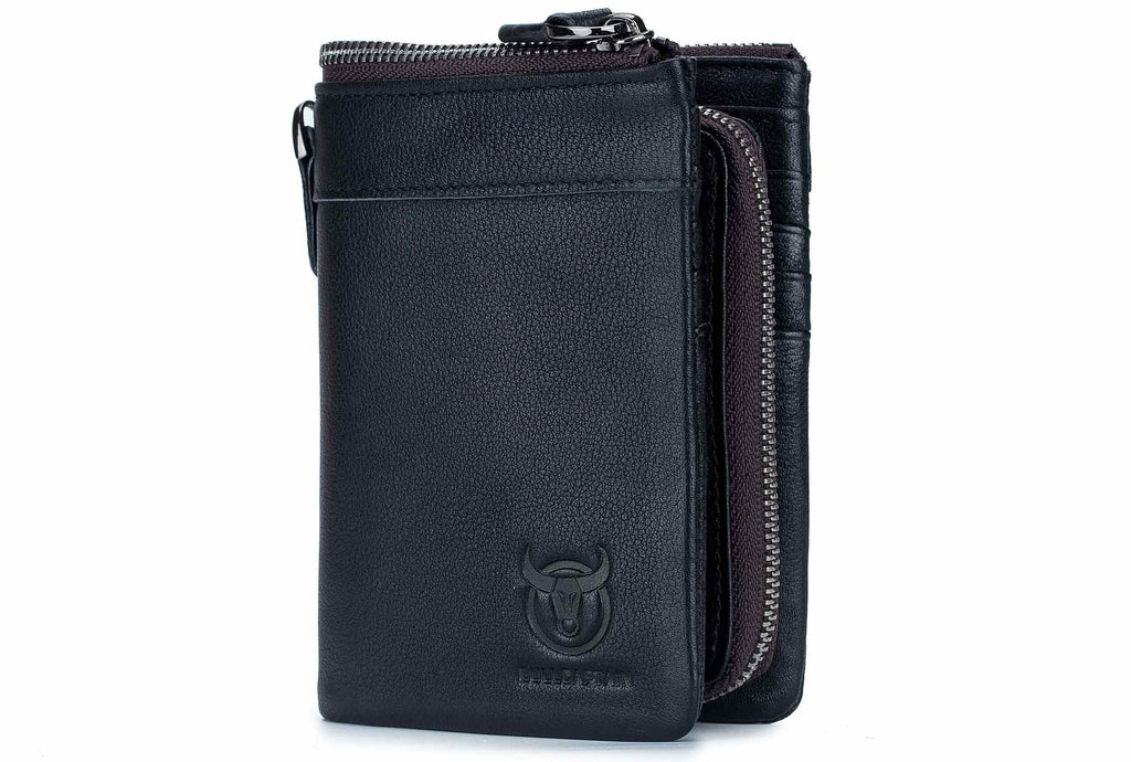 BULLCAPTAIN LEATHER BIFLOD RFID BLOCKING MEN ZIPPER WALLET WITH DETACHABLE COIN POCKET - 050