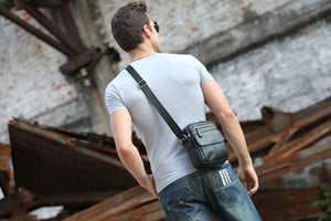 Bullcaptain Crossbody Bag Leather Mens Vintage Genuine Leather Shoulder Bag Messager Bag - 016