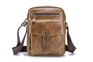 BULLCAPTAIN LEATHER MESSAGER BAG VINTAGE SHOULDER BAG - 053